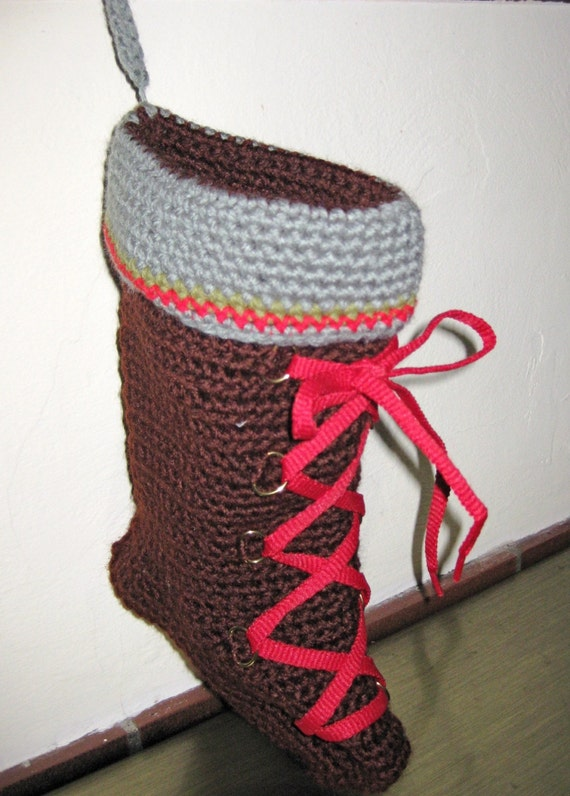 Christmas Stocking, Hiking Boot, Handmade