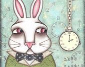 White Rabbit Alice In Wonderland PRINT of orginal mixed media painting artwork by Lori Ramotar