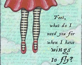 The Day She Flew Away mixed media collage art PRINT red shoes Frida Kahlo Quote Artwork by Lori Ramotar