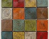 Modern spiral circles squares ORIGINAL PAINTING set of 16 highly textured canvas squares by Lori Ramotar