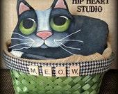 Tuxedo fat cat primitive ooak folk art doll by Lori Ramotar of Hip Heart Studio