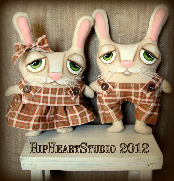 Spring bunnies rabbits easter primitive ooak folk art doll set by Lori Ramotar of Hip Heart Studio