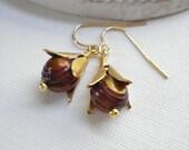 Chocolate Brown Pearl Dangle Earrings, Bohemian Drop Earrings, Chestnut, Bell Jewelry, Gift For Her Under 25