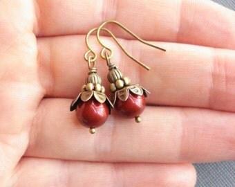 Wine Red Earrings Brass Bordeaux Earrings Pearl Earrings Swarovski Pearls Drop Earrings Red Beaded Earrings Vintage Earrings Burgundy