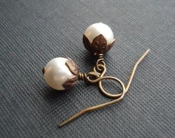 White Pearl Earrings In Brass, Drop Earrings, Classic Wedding Earrings, Vintage Style Earrings, Bridesmaid. Chocolate Brown