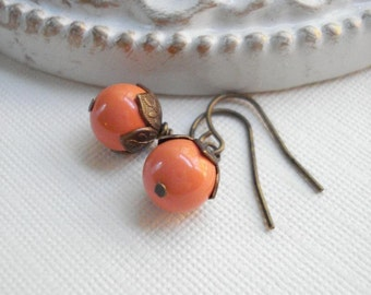 Coral Pearl Earrings In Antiqued Brass Halloween Earrings Orange Classic Drop Earrings Tangerine Dangle Earrings Wedding Jewelry