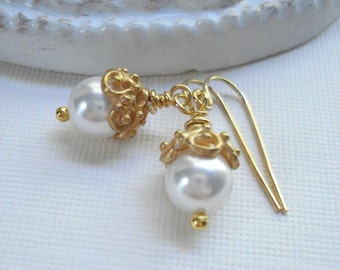 White Pearl Drop Earrings In Gold, Classic, Wedding Jewelry, Bridesmaid. Gold, Winter Jewelry