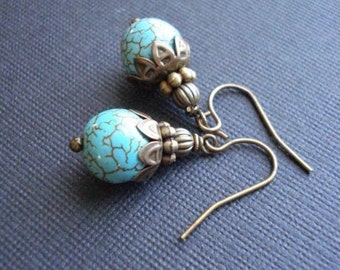 Turquoise Earrings In Antiqued Brass Vintage Style Jewelry Beaded Turquoise Earrings Blue Stone Drop December Birthday Gift