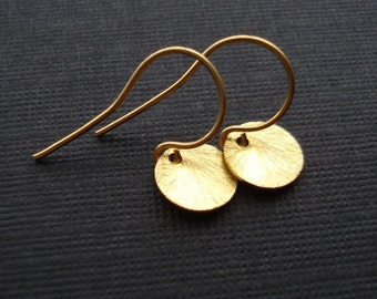 Gold Coin Earrings Brushed Drop Minimalist Gold Earrings Contemporary Jewelry Vermeil Gold Geometric Jewelry Everyday Jewelry