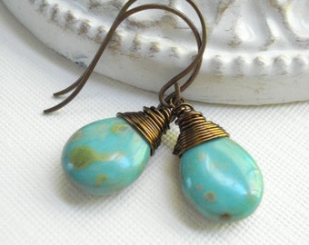 Turquoise Teardrop Earrings In Antique Brass, Wire Wrapped Dangle Earrings, Vintage Style, Stone, Gift For Her Under 25, December Birthday