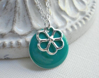Turquoise Coin Necklace In Silver, Silver Flower Necklace, Minimalist Jewelry, Everyday Jewelry, Turquoise Pendant, Gift For Under 25