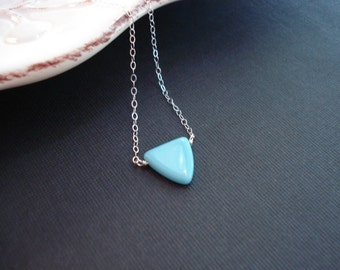 Triangle Necklace Sterling Silver Minimalist Necklace Layered Necklace Turquoise Blue Necklace Geometric Love Delicate Dainty Jewelry