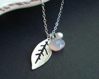 Silver Leaf Necklace. Leaf Pendant, Pink Chalcedony, Pearl Necklace. October Birthstone, Wedding Jewelry, Delicate