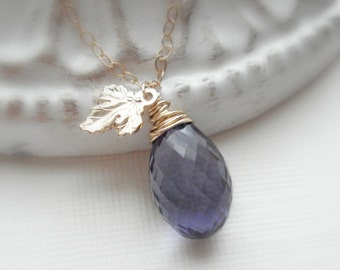 Grape Necklace Amethyst Necklace Leaf Necklace Gold Grape Wine Lover Purple Stone Pendant Necklace Wire Wrapped Jewelry Gift For Her