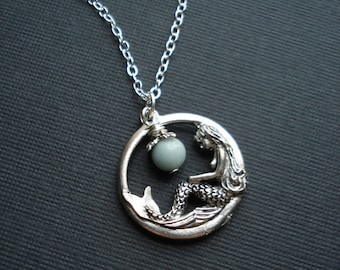 Mermaid Necklace In Silver. Mermaid Pendant, Fantasy Jewelry, Blue Amazonite Stone, Gift For Her Under 25