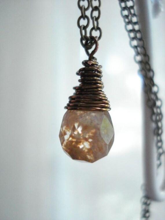 Coffee Quartz, Brass Necklace