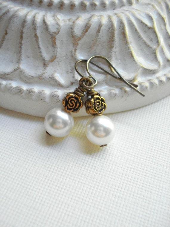Flower, Pearl Earrings, Begonia Earrings. Botanical, Whimsical, Gold, White