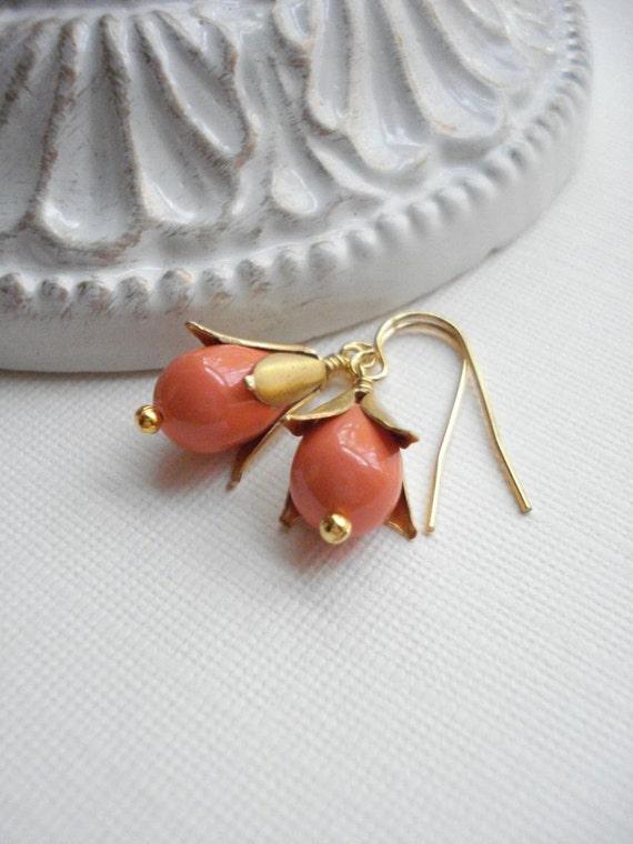 Coral Pearl Dangle Earrings Swarovski Pearl Earrings Pear Shaped Wedding Pearl Earrings Orange Gold Drop Earrings Peach Gift For Her