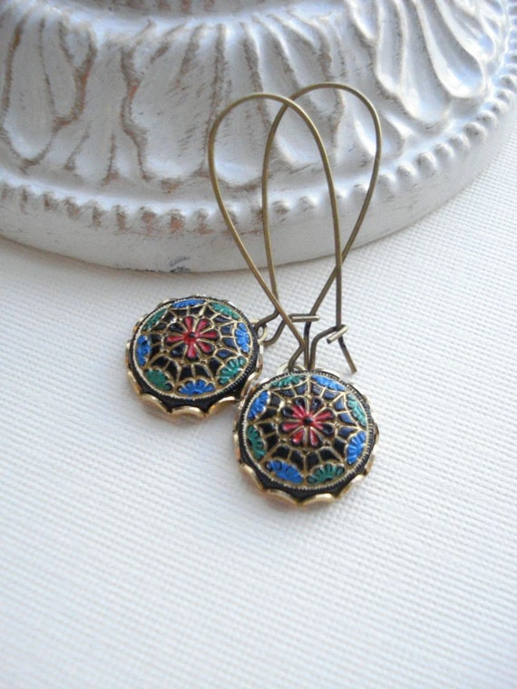Vintage Mosaic Dangle Long Earrings, Turquoise, Multicolor Earrings, Black, Red, Round