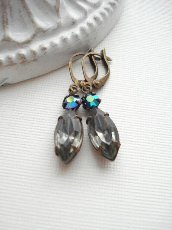 Black Diamond Emerald Dangle Earrings, Double Stone Jewels, Vintage Style Earrings, Gift For Her Under 25