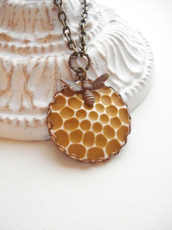 Honeycomb, Bee Necklace Vintage Cabachon Pendant, Autumn, Halloween. LAST ONE