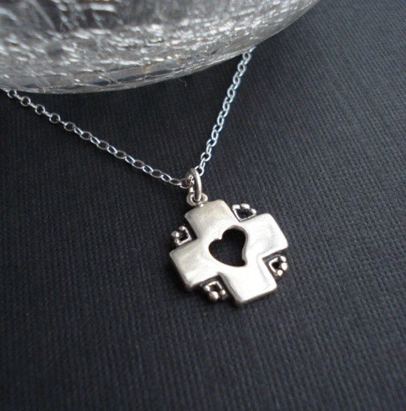 Cross Necklace Silver. Heart Necklace In Sterling Silver. Cross Pendant. Modern Silver Necklace, Religious
