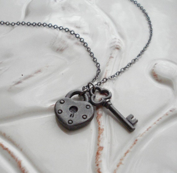 Lock and Key Charms Necklace, Key To My Heart, Black, Gift For Her Under 25, Valentine Day