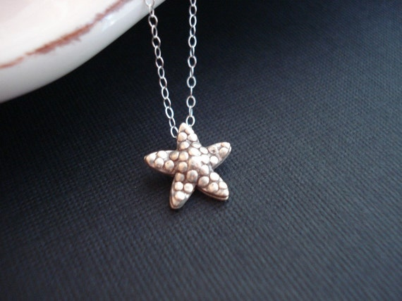 Starfish Necklace In Sterling Silver Starfish Pendant Modern Everyday Jewelry Beach Wedding Sea Creature Wedding Jewelry Bridesmaid Necklace