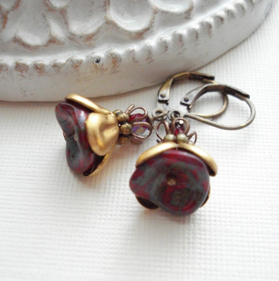 Red Flower Dangle Brass Earrings. Botanical Drop Earrings. Vintage Style. Gold, Beaded. Gift For Her Under 25
