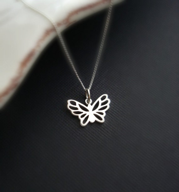 Butterfly Necklace In Sterling Silver, Butterfly Pendant, Nature, Modern Jewelry, Everyday Jewelry, Charm, Delicate, Dainty