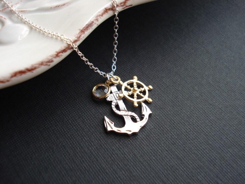 Anchor Necklace In Silver. Anchor Pendant Wheel Necklace