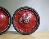 RESERVED - Vintage Industrial Red Wheels