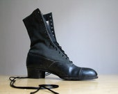 Antique Victorian Black Lace Up Boots