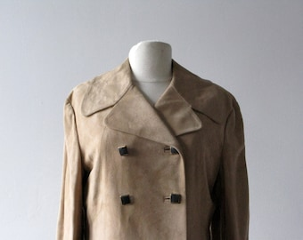 Vintage Tan Fawn Chamois Suede Coat