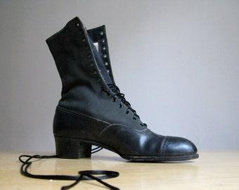Antique Victorian Black Lace Up Boots