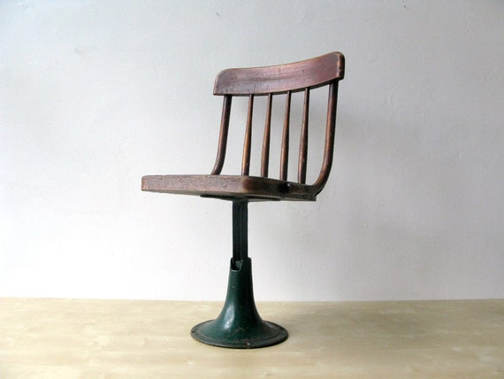 Antique Wooden Pedestal School Chair