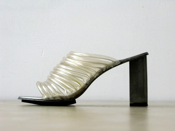 RESERVED. Robert Clergerie Metal and Lucite Tubing Slip On Heels