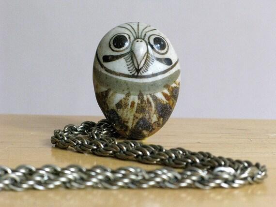 Vintage 1970s Mexican Folk Art Owl Pottery Necklace