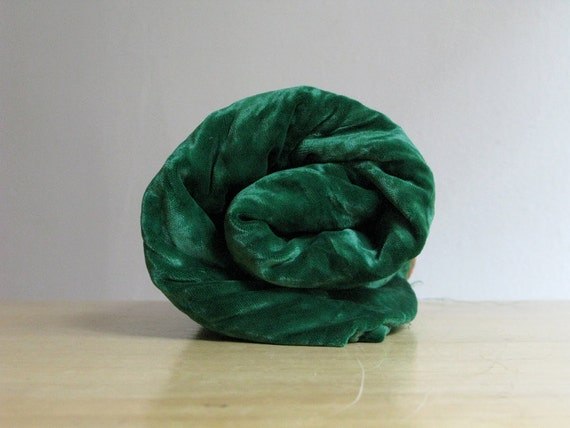 Vintage Dark Emerald Green Silk Velvet Fabric