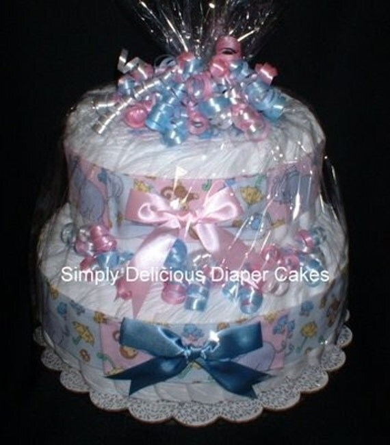 Precious Moments Baby Shower Cakes: Baby Shower Diaper Cake Boy Girl Twins PRECIOUS MOMENTS