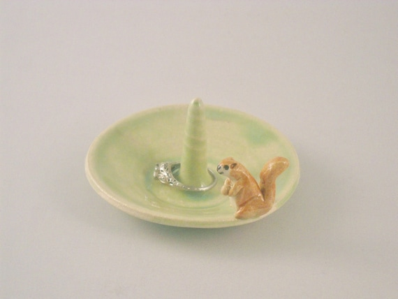 Squirrel Ring Dish, Jewelry Holder, Green