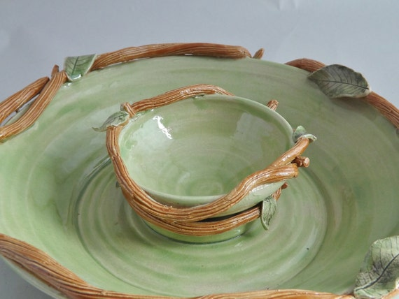 Green Vine and Leaf Stoneware Chip and Dip Service