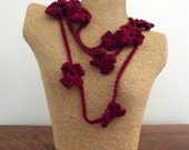 SALE - Crochet Flower Necklace Burgundy