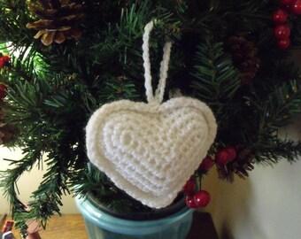 Crochet Love Heart White Decoration Ornament