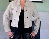Vintage 1950s Linen Jacket Joy Perreras RiALTO COLLECTION Eyelet Jacket Women M