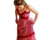 SALE Vintage 1980s Sundress Cotton Red Dress Sweetheart Crochet Lace Summer Dress Garden Party Dress M