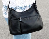 Vintage Bag Black Genuine Leather Shoulder Hobo Bag with Wallet and Lock