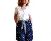 Nautical Women Shorts Navy Blue Vintage 60s Polka Dot High Waisted Tie belt by Brittany Nicole