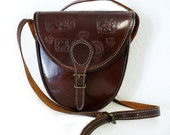 Vintage Tooled Bag Brown Leather flap boho Shoulder Cross body Bag Carved Inca Signs Symbols handbag