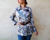 Vintage 60s Blouse Paisley Oleg Cassini Made in Italy